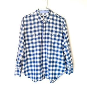Madewell checkered blue button up